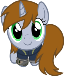 Size: 1000x1187 | Tagged: artist:brisineo, badumsquish's kitties, clothes, cute, fallout equestria, fanfic, fanfic art, female, hooves, horn, i can't believe it's not badumsquish, looking at you, looking up, looking up at you, mare, oc, ocbetes, oc:littlepip, oc only, part of a set, pipbuck, pony, safe, simple background, sitting, smiling, solo, transparent background, unicorn, vault suit