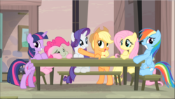 Size: 1669x942 | Tagged: acting, alicorn, applejack, bipedal, bipedal leaning, fluttershy, green face, group, leaning, mane six, pinkie pie, rainbow dash, rarity, safe, screencap, sitting, smiling, table, teeth, the cutie map, twilight sparkle, twilight sparkle (alicorn)
