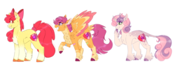 Size: 1871x691 | Tagged: alternate design, apple bloom, artist:wanderingpegasus, cheek fluff, chest fluff, classical unicorn, cloven hooves, colored wings, colored wingtips, cutie mark crusaders, dappled, ear fluff, female, fluffy, hoof fluff, leonine tail, pony, safe, scootaloo, simple background, smiling, sweetie belle, tail feathers, tail wrap, unicorn, unshorn fetlocks, white background
