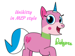 Size: 1008x756 | Tagged: artist:didgereethebrony, cutie mark, lego, looking at you, ponified, pony, safe, signature, simple background, solo, transparent background, unicorn, unikitty