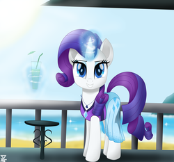 Size: 5900x5500   Tagged: safe, artist:theretroart88, rarity, pony, unicorn, beach, clothes, cute, drink, equestria girls outfit, equestria girls ponified, female, jewelry, levitation, looking at you, magic, mare, movie accurate, necklace, ocean, ponified, raribetes, sarong, sky, smiling, solo, swimsuit, telekinesis