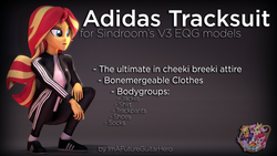 Size: 3840x2160 | Tagged: safe, artist:imafutureguitarhero, artist:sindroom, part of a set, sunset shimmer, human, equestria girls, 3d, adidas, cheeki breeki, clothes, colored eyebrows, download, download at source, downloadable, female, gopnik, high res, jacket, multicolored hair, open mouth, pants, part of a series, raised eyebrow, shirt, shoes, slav squat, socks, solo, source filmmaker, squatting, text, trackpants, tracksuit