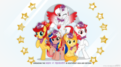 Size: 8675x4800 | Tagged: safe, artist:jhayarr23, oc, oc:indonisty, oc:kwankao, oc:pearl shine, oc:rosa blossomheart, oc:temmy, pony, project seaponycon, indonesia, malaysia, nation ponies, philippines, singapore, stars, thailand