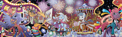 Size: 3934x1195 | Tagged: safe, artist:brendahickey, capper dapperpaws, captain celaeno, flash magnus, grubber, meadowbrook, mistmane, princess luna, rockhoof, somnambula, star swirl the bearded, storm king, stygian, tempest shadow, trixie, abyssinian, alicorn, earth pony, pegasus, pony, unicorn, anthro, digitigrade anthro, idw, my little pony: the movie, nightmare knights, spoiler:comic, spoiler:comicnightmareknights01, spoiler:comicnightmareknights02, spoiler:comicnightmareknights03, spoiler:comicnightmareknights04, spoiler:comicnightmareknights05, anthro with ponies, bowtie, broken horn, cape, card, carousel, casino, clothes, cover, curved horn, ethereal mane, eye scar, female, fireworks, hat, horn, joker, looking at you, male, mare, official comic, pillars of equestria, playing card, poker chips, roulette, scar, slot machine, stallion, starry mane, stars, suit, sunset shimmer's cutie mark, tailcoat, top hat