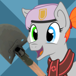 Size: 512x512 | Tagged: safe, artist:novafusion, oc, oc:golden lotus, pony, beret, bill's hat, clothes, commission, cute, entrenching tool, hat, heterochromia, market gardener, ponytail, scarf, shovel, smiling, sunburst background, team fortress 2, weapon