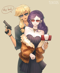 Size: 1400x1700 | Tagged: applejack, artist:tcn1205, badass, bare shoulders, beretta, bodyguard, clothes, cute, dialogue, equestria girls, female, gun, jackabetes, lesbian, purse, raribetes, rarijack, rarity, safe, shipping, sunglasses, weapon
