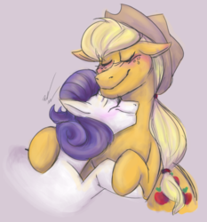 Size: 685x735 | Tagged: applejack, artist:ccbeth98, blushing, cute, daaaaaaaaaaaw, eyes closed, female, jackabetes, lesbian, raribetes, rarijack, rarity, safe, shipping, snuggling