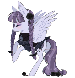 Size: 1200x1254 | Tagged: safe, artist:kitten-in-the-jar, inky rose, pegasus, pony, blushing, clothes, eyes closed, female, flower, mare, rose, simple background, smiling, solo, transparent background