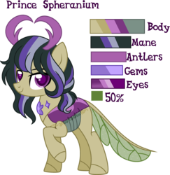 Size: 1280x1316 | Tagged: artist:t-aroutachiikun, changepony, hybrid, interspecies offspring, male, oc, oc:spheranium, offspring, parents:twirax, parent:thorax, parent:twilight sparkle, reference sheet, safe, simple background, solo, trans boy, transgender, transparent background