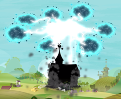 Size: 1022x834 | Tagged: safe, screencap, twittermite, bloom and gloom, destruction, disaster, electricity, lightning, no pony, smoke, swarm, sweet apple acres