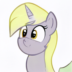 Size: 512x512 | Tagged: artist:aerial, cute, derpy hooves, pony, race swap, safe, simple background, solo, unicorn, white background