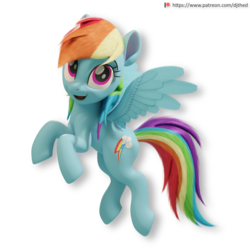 Size: 2176x2176 | Tagged: 3d, 3d model, alternate version, artist:therealdjthed, blender, cute, cycles, cycles render, female, flying, mare, patreon, patreon logo, pegasus, pony, rainbow dash, safe, simple background, solo, transparent background, wings