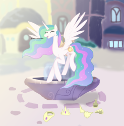 Size: 4263x4327 | Tagged: alicorn, artist:mr100dragon100, canterlot, collar, crown, discord, dislestia, female, fountain, hoof shoes, implied dislestia, implied shipping, implied straight, jewelry, male, mare, open mouth, princess celestia, regalia, safe, shipping, straight