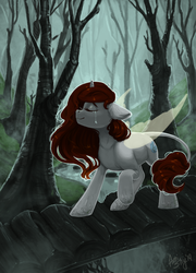 Size: 3000x4165 | Tagged: artist:amishy, eyes closed, female, fog, forest, horn, oc, oc only, pony, safe, scenery, solo, tree, unknown species