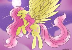 Size: 1038x718 | Tagged: safe, artist:nate-doodles, fluttershy, pegasus, pony, chest fluff, cloud, cute, ear fluff, eyes closed, female, floppy ears, flying, full moon, large wings, mare, moon, night, open mouth, shooting star, shyabetes, sky, solo, spread wings, stars, wings