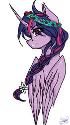 Size: 1024x1821 | Tagged: safe, artist:search1ngf0rmys01ace, twilight sparkle, alicorn, pony, alternate hairstyle, braid, bust, cute, eye clipping through hair, eyebrows, eyebrows visible through hair, female, floral head wreath, flower, flower in hair, portrait, profile, simple background, solo, twiabetes, twilight sparkle (alicorn), white background