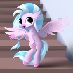 Size: 800x800 | Tagged: artist:songbirdserenade, cute, diastreamies, female, hippogriff, open mouth, safe, silverstream, solo, spread wings, stairs, that hippogriff sure does love stairs, wings
