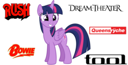 Size: 1422x729 | Tagged: safe, artist:andoanimalia, twilight sparkle, alicorn, pony, uncommon bond, bands, cute, david bowie, dream theater, female, heavy metal, looking at you, music, progressive metal, progressive rock, queensrÿche, rush (band), simple background, smiling, solo, tool (band), twiabetes, twilight sparkle (alicorn), vector, white background