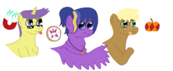 Size: 1200x496 | Tagged: artist:dexterousdecarius, oc, oc:apple browning, oc:brownie, oc:nova, oc:nova star, oc only, oc:polaris, offspring, parent:applejack, parent:comet tail, parent:flash sentry, parents:cometshimmer, parents:flashlight, parents:trenderjack, parent:sunset shimmer, parent:trenderhoof, parent:twilight sparkle, pony, safe, simple background, transparent background