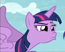 Size: 1028x818 | Tagged: alicorn, cropped, narrowed eyes, pony, safe, screencap, solo, squint, tanks for the memories, twilight sparkle, twilight sparkle (alicorn)