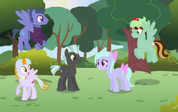 Size: 1556x980 | Tagged: artist:razorbladetheunicron, bow, clothes, daughter, female, flitter, group, hat, jacket, male, mare, next generation, oc, oc:blizzard, oc:citrus surprise, oc:mint chip, offspring, parent:flitter, parents:flitterlane, parent:thunderlane, pegasus, safe, scarf, son, stallion, thunderlane