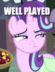 Size: 336x439 | Tagged: caption, cropped, edit, edited screencap, female, image macro, mare, pony, rock solid friendship, safe, screencap, solo, starlight glimmer, text, unicorn, well played