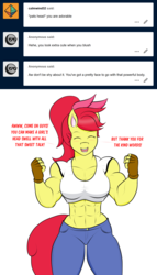 Size: 1280x2232 | Tagged: abs, anthro, apple bloom, apple bloom's bow, apple brawn, artist:matchstickman, biceps, bow, breasts, busty apple bloom, clothes, deltoids, dialogue, earth pony, eyes closed, female, fingerless gloves, gloves, hair bow, jeans, mare, matchstickman's apple brawn series, midriff, muscles, older, older apple bloom, pants, safe, shirt, simple background, solo, talking to viewer, thunder thighs, tumblr comic, tumblr:where the apple blossoms, white background