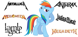 Size: 1540x740 | Tagged: anthrax, artist:andoanimalia, groove metal, heavy metal, helloween, judas priest, lamb of god, megadeth, metallica, pegasus, pony, power metal, rainbow dash, safe, simple background, solo, thrash metal, vector, white background