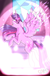 Size: 1800x2700 | Tagged: safe, artist:jack-pie, twilight sparkle, alicorn, pony, eyes closed, female, mare, rearing, redraw, remembrance (audio drama), twilight sparkle (alicorn), youtube
