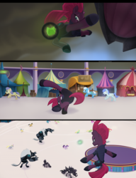 Size: 1914x2487 | Tagged: safe, screencap, apple bumpkin, apple honey, apple munchies, apple tarty, berry punch, berryshine, derpy hooves, golden delicious, open skies, red delicious, red gala, tempest shadow, twilight sparkle, alicorn, earth pony, pegasus, pony, unicorn, my little pony: the movie, acrobatics, airship, apple family member, armor, background pony, broken horn, eye scar, fake horn, female, hat, hoof shoes, horn, jumping, looking down, male, mare, mohawk, obsidian orb, party hat, scar, stallion, twilight sparkle (alicorn), underhoof, unnamed pony