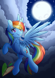 Size: 2480x3507 | Tagged: artist:nana-yuka, female, flying, mare, moon, night, pony, rainbow dash, safe, smiling, solo, supermoon