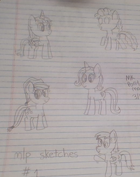 Size: 522x658 | Tagged: alicorn, applejack, applejack's hat, artist:nightshadowmlp, cowboy hat, derpy hooves, earth pony, female, hat, lined paper, mare, pegasus, pinkie pie, safe, scrunchy face, sketch, sketch dump, smiling, stetson, text, traditional art, trixie, twilight sparkle, twilight sparkle (alicorn), unicorn, waving
