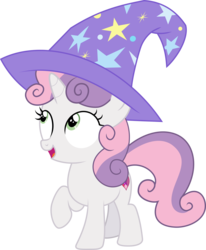 Size: 4682x5675 | Tagged: artist:sinkbon, clothes, cute, diasweetes, hat, pony, safe, solo, sweetie belle, trixie's hat, vector