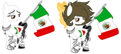 Size: 3696x1656 | Tagged: artist:angelamusic13, bald, bow, female, flag, mare, mexico, oc, oc:marie, pegasus, pony, safe, simple background, solo, tail bow, white background