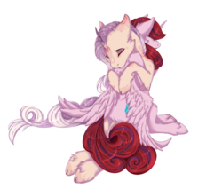 Size: 1500x1275 | Tagged: safe, artist:requiem♥, princess cadance, oc, oc only, oc:bleeding heart, oc:sumac spirit, alicorn, pony, unicorn, alicorn oc, cheek fluff, clothes, cloven hooves, commission, cute, cutie mark, ear fluff, eyes closed, female, long mane, long tail, love, male, mare, nightmare cadance, nightmarified, oc x oc, pink fur, pink mane, red mane, shipping, simple background, smile face, straight, transparent background, wings, ych result