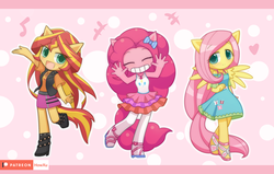 Size: 1571x1000 | Tagged: anthro, artist:howxu, equestria girls, eyes closed, female, fluttershy, looking at you, pinkie pie, ponied up, safe, smiling, sunset shimmer