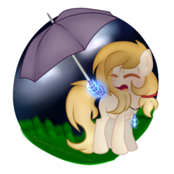 Size: 2000x2000 | Tagged: artist:applerougi, crystal, earth pony, female, high res, jewelry, magic, mare, necklace, oc, oc:cremita, pony, safe, solo, umbrella