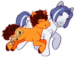 Size: 720x570 | Tagged: artist:guidomista, artist:miiistaaa, artist:nijimillions, brown hair, brown mane, brown tail, brunette, couple, couples, curls, curly hair, curly mane, curly tail, cute, cutie mark, cutie mark on leg, cutiemark on leg, earth pony, eyes are closed, eyes closed, food, g3, hooves, jumping, league of legends, leg cutiemark, leg cutie mark, love, oc, oc:paid postage, oc:triple shot, one hoof raised, one leg raised, orange, pony, ponysona, romance, safe, shipping, simple background, smiling, sona, transparent background, unicorn