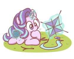 Size: 2560x2048 | Tagged: source needed, safe, artist:sugar morning, starlight glimmer, pony, unicorn, chibi, chocolate, cute, empathy cocoa, female, food, glimmerbetes, glowing horn, glue, heart, hot chocolate, kite, lying down, magic, mare, scissors, simple background, starlight glimmer day, stick, telekinesis, that pony sure does love kites, transparent background