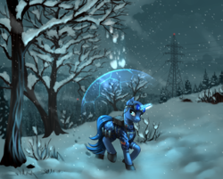 Size: 1892x1523 | Tagged: artist:pony-way, barrier, clothes, force field, goggles, magic, male, oc, oc only, pony, power line, raised hoof, safe, scenery, snow, snowfall, solo, stallion, tree