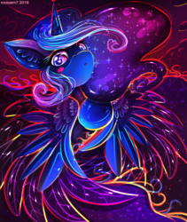 Size: 1575x1868 | Tagged: alicorn, artist:rocioam7, blushing, colored feathertips, color porn, ethereal mane, flowing mane, missing accessory, princess luna, safe, signature, solo, starry mane, surreal, wingding eyes