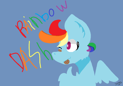 Size: 1146x806 | Tagged: bandage, caption, cookie, cookie in mouth, food, image macro, one eye closed, pony, rainbow dash, safe, signature, solo, text, wink