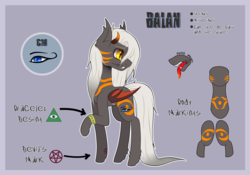 Size: 2060x1441 | Tagged: artist:song-star, bat wings, bracelet, demon, demon pony, fangs, horns, jewelry, male, markings, oc, oc:balan, oc only, open mouth, raised hoof, reference sheet, safe, solo, stallion, tail, tongue out, wings