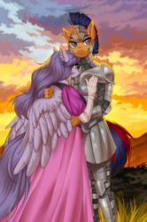 Size: 931x1400 | Tagged: safe, artist:margony, oc, oc:electric spark, oc:mariah wolves, alicorn, anthro, unicorn, alicorn oc, armor, clothes, dress, knight, princess, shipping, ych result