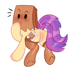 Size: 1300x1200 | Tagged: safe, artist:honeyntoast, oc, oc only, oc:paper bag, pony, adorasexy, blushing, clothes, cute, dock, featureless crotch, looking back, ocbetes, open mouth, paper bag, plot, sexy, simple background, socks, solo, thigh highs, transparent background