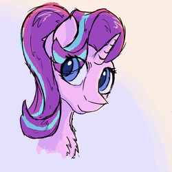 Size: 2000x2000 | Tagged: safe, artist:hyper dash, starlight glimmer, pony, unicorn, bust, chest fluff, colored pupils, cute, eye clipping through hair, female, glimmerbetes, mare, portrait, solo