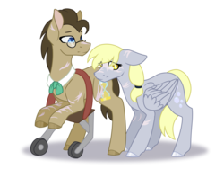 Size: 2000x1500 | Tagged: alternate universe, artist:ghostlykittycat, derpy hooves, doctorderpy, doctor whooves, female, male, pony, safe, shipping, straight, time turner