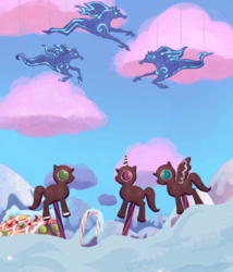 Size: 1929x2249 | Tagged: safe, composite screencap, edit, edited screencap, screencap, gingerbread, earth pony, pegasus, pony, unicorn, windigo, hearthbreakers, candy, candy cane, cloud, cotton candy, cotton candy cloud, food, panorama, snow, sprinkles