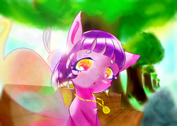 Size: 1400x1000 | Tagged: artist:wen, bench, butterfly wings, cute, female, floppy ears, jewelry, looking at you, mare, necklace, oc, oc only, open mouth, pony, safe, sitting, solo, tree