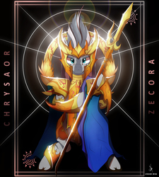 Size: 4300x4770 | Tagged: safe, artist:zidanemina, zecora, zebra, absurd resolution, armor, beautiful, bipedal, crossover, female, looking at you, majestic, mare, saint seiya, scale, solo, spear, weapon